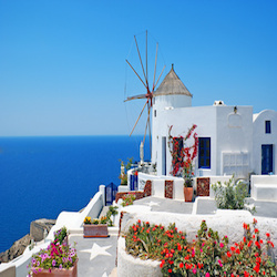 Traditional architecture of Oia village at Santorini island in Greece